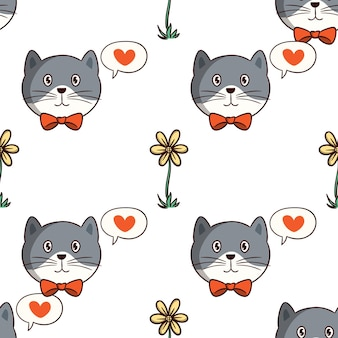 Kawaii cat with flower in seamless pattern with colored doodle style on white background