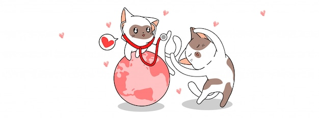 Kawaii cat with the health day