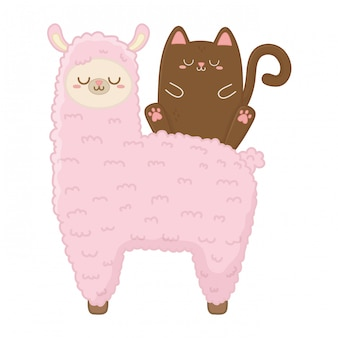 Kawaii of cat with llama cartoon