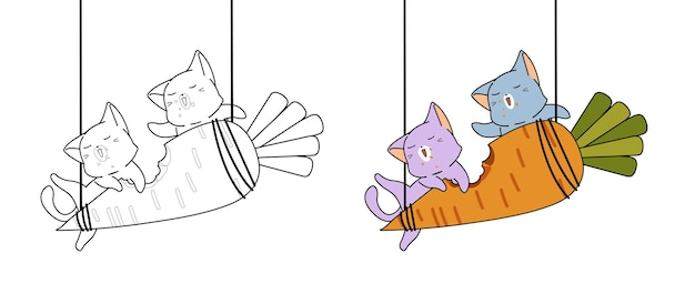Kawaii cats are eating giant carrot cartoon coloring page for kids