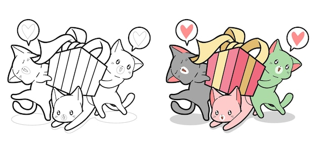 Kawaii cats are holding gift box cartoon coloring page for kids