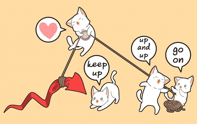 Kawaii cats are lifting the red arrow to up