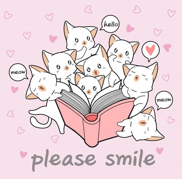 Kawaii cats are loving a book
