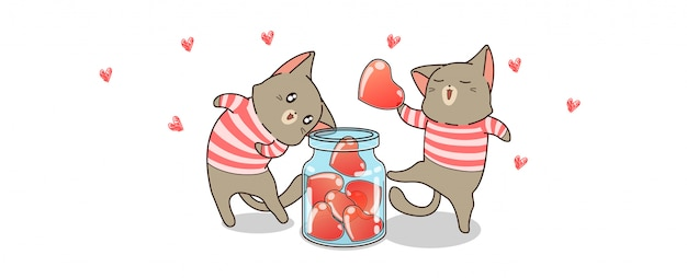 Kawaii cats are saving hearts for valentines day