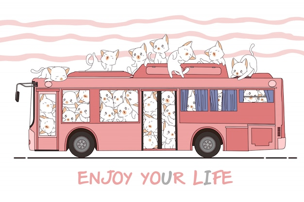 Kawaii cats and bus