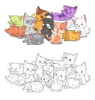 Kawaii cats cartoon coloring page