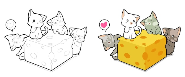 Kawaii cats and cheese cartoon coloring page for kids