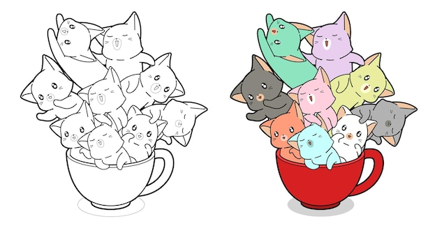 Kawaii cats in cup of coffee cartoon coloring page for kids