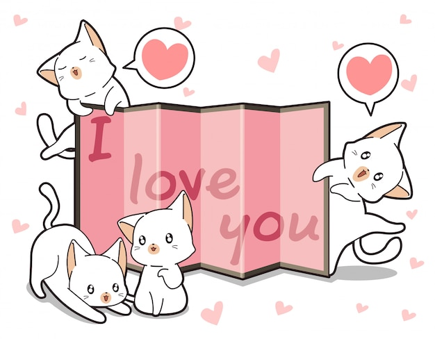 Kawaii cats and curtain with word