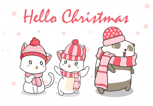 Kawaii cats and panda in winter dress