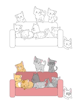 Kawaii cats on sofa cartoon coloring page for kids