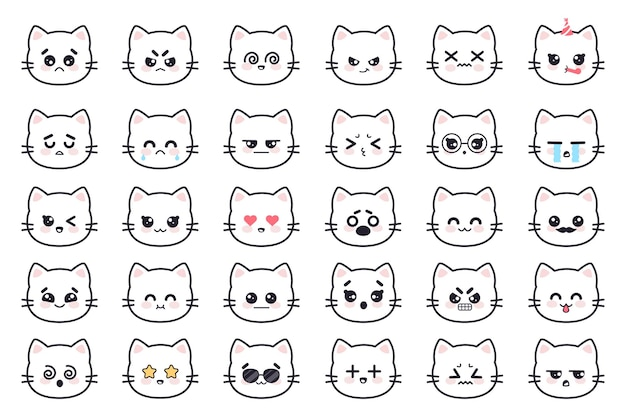 Каваи кошки белый котенок голова аниме аватарки с разными эмоциями страх крик гнев апатия смерть радость