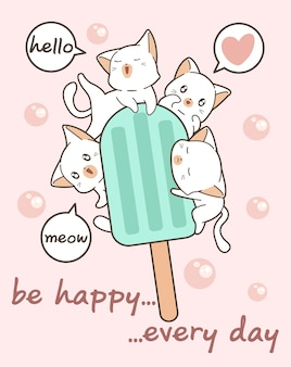 Kawaii cats with ice cream bar