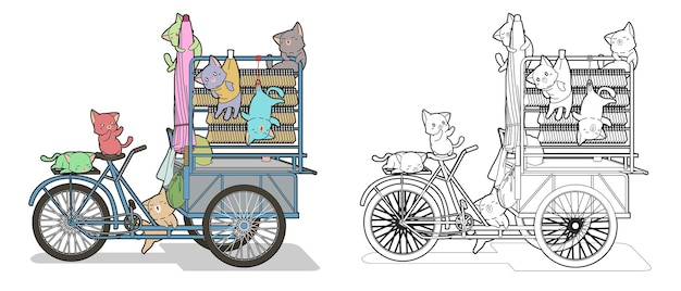 Kawaii cats with portable store cartoon coloring page