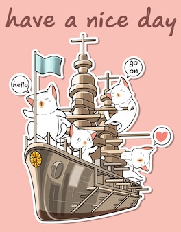 Kawaii cats with the war ship