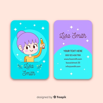 Kawaii character business card template