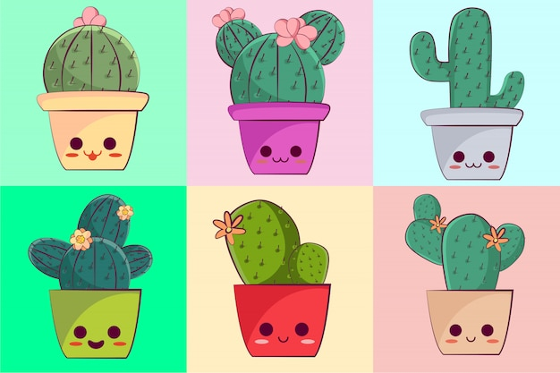 Kawaii character cactus collection