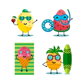 Kawaii characters fruits and ice cream