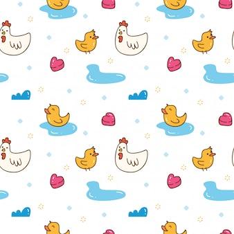 Каваи курица и утка бесшовный фон