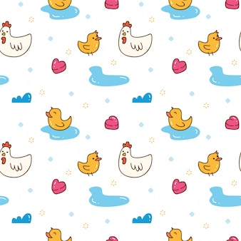 Kawaii chicken and duck seamless background