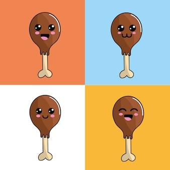 Kawaii chicken thigh icon adorable expression