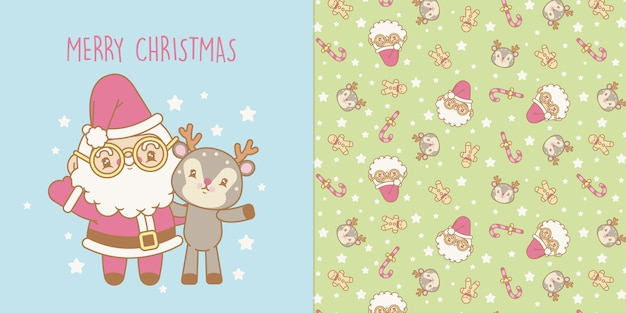 Kawaii christmas card and transparent christmas seamless pattern