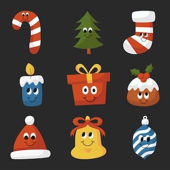 Набор рождественских мультфильмов kawaii, изолированные на черном фоне