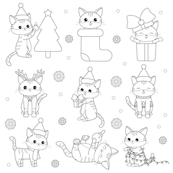 Kawaii christmas cats set
