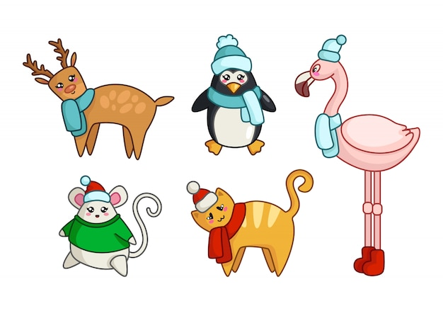 Kawaii christmas or new year cute animals in winter clothes reindeer, cat, mouse, penguin