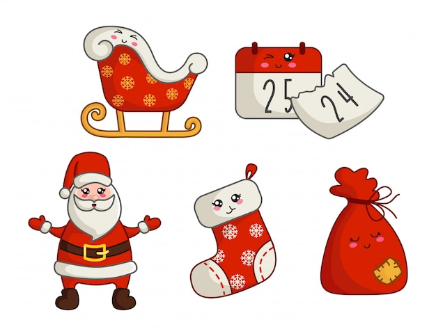 Kawaii christmas and new yearset of decorations, cute santa claus, gift bag, sock, stocking