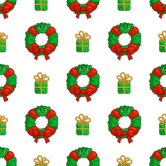 Kawaii christmas seamless pattern with wreath and gift box, endless texture
