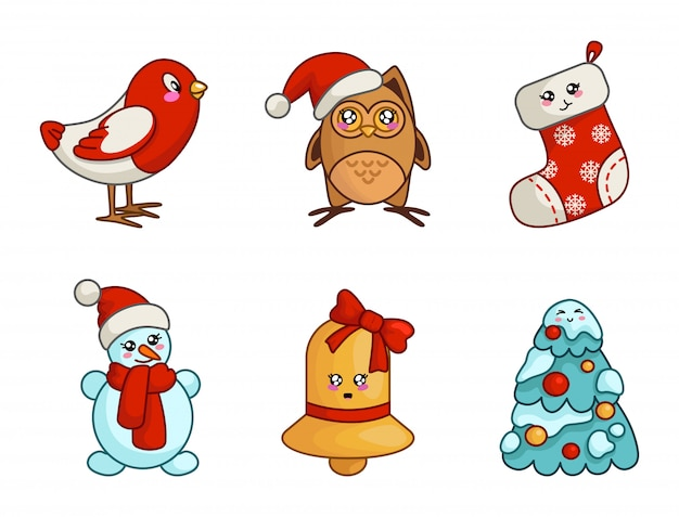 Kawaii christmas set for new year decoration, cute sock, stocking, bell with bow, owl, bird, snowman, christmas tree with snow and balls - isolated objects vector