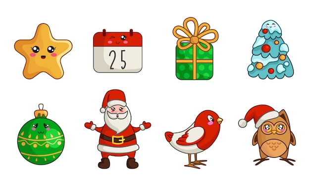 Kawaii christmas set of new year owl, bird, santa claus, calendar, gift box, christmas tree