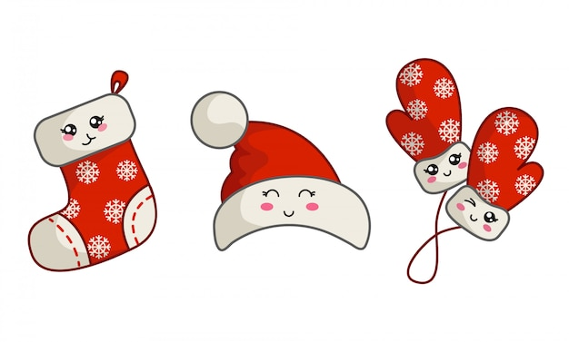 Kawaii christmas set for new year party decoration - santa claus hat, red mittens with snowflakes and sock or stocking, cute cartoon objects,