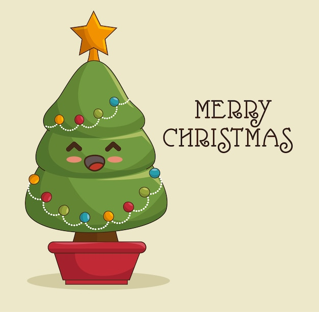 Kawaii christmas tree, merry christmas greeting card