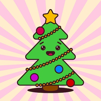 Kawaii christmas tree with smiling face