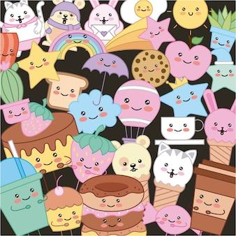 Kawaii cloud donut star cake cookie cat rainbow cartoon