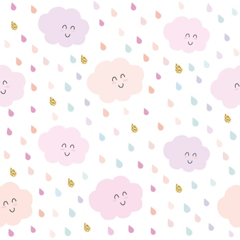 Kawaii clouds and drops seamless pattern background.