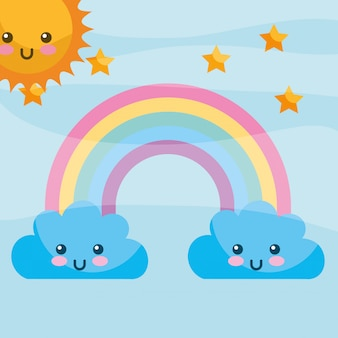 Kawaii clouds rainbow stars cartoon