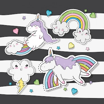 Kawaii clouds with rainbow and thunder with unicorn