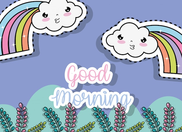 Kawaii clouds with rainbows sticker and plants leaves