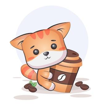 かわいいコーヒー猫 Premiumベクター