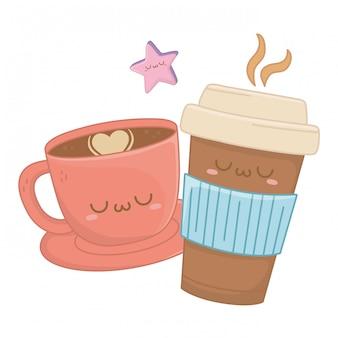 Kawaii of coffee cup cartoon