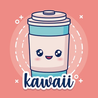 Kawaii coffee cup icon