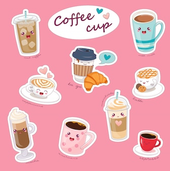 Kawaii coffee cups with different hot drinks.