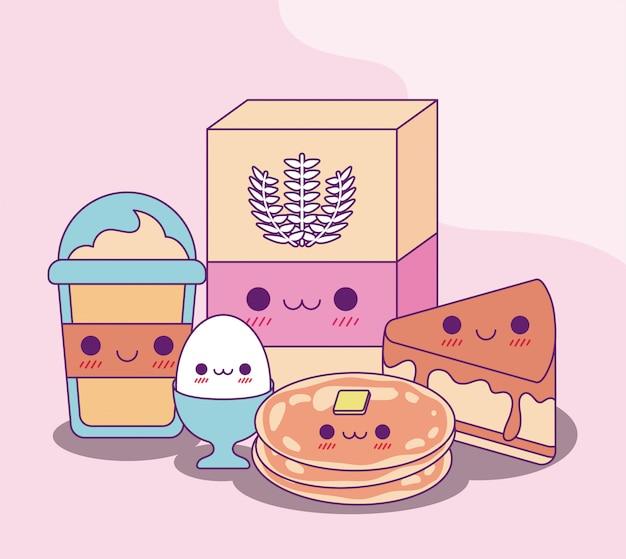 Kawaii coffee mug flour egg pancakes and cake design