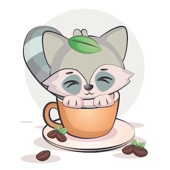 Kawaii coffee racoon