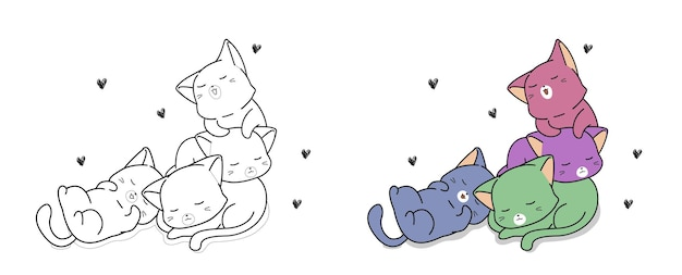 Kawaii colorful cats cartoon coloring page for kids
