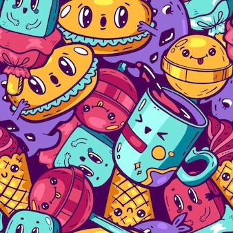 カワイイカラフルな食べ物のシームレスなパターン漫画風の落書きキャラクター感情的な顔のお菓子屋さん