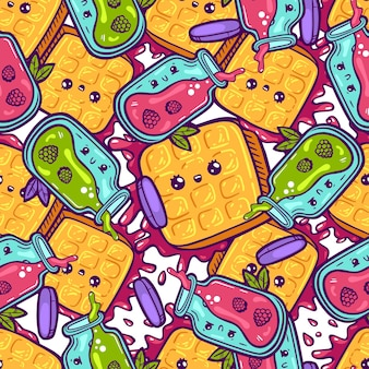 Kawaii colorful waffles and jam seamless pattern. cartoon style doodle sweety character. emotional face icon candy shop. hand drawn illustration isolated on white background